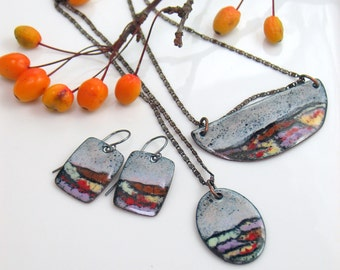 Gray Skies Colorful Landscape Jewelry Collection, Vitreous Enamel Earrings and Pendants, Sets & Singles, Ready to Ship, Gifts for Her
