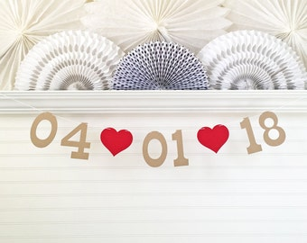Save the Date Banner - 5 Inch Numbers with Hearts - Bridal Shower Decoration Save the Date Photo Prop Banner Wedding Date Sign Date Garland