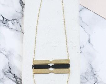 Long Chord Necklace, Triple Pendant Necklace, Lariat NEcklace, Black and Gold NEcklace, Long Necklace, Statement Necklace