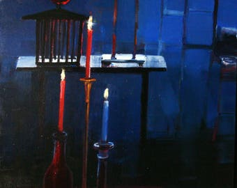 Original Oil Painting Still Life Candles Cages Surrealism Painting By Bobbie Jansen on Etsy