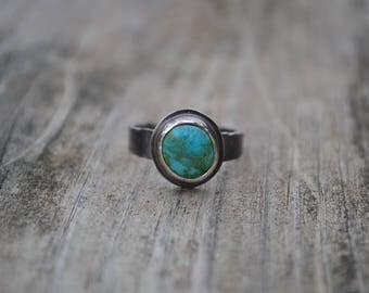 Turquoise Organic Nature Inspired Oxidized Sterling Silver Ring Ready to Ship Size 7 1/2