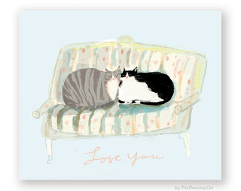 Love You Cat Card - Love Seat Cats - Thinking of You - Love You