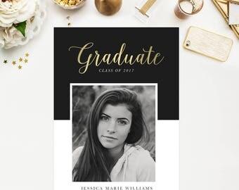 Gold Foil Graduation Announcements Instant Download PSD Template For Photographers DIY Invites Grad Invites 5x7 Photo Cards Gold Graduation