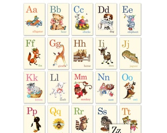 Digital | Print at Home | 3x4 Animal ABC Alphabet Flash Cards Vintage Retro Style