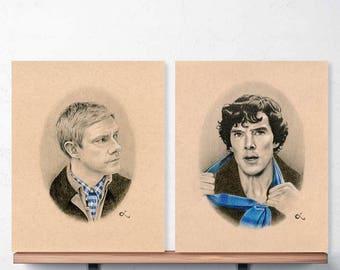 Sherlock Art Set, BBC Sherlock, John Watson and Sherlock Holmes, Sherlock Fandom, Johnlock
