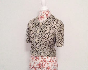 vintage womens blouse // 1980's peplum waist // floral bow romantic top