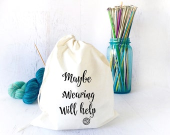 Project Bag for Knitting - Yarn Holder- Drawstring Bag- Yarn Storage-Travel Knitting Bag- Gifts for Knitters- Shawl Knitting- Knitting Bag