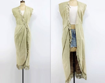 Vintage Suede Dress Fringed Suede Vest Suede Fringe Dress 90s Long Boho Vest Vintage Cream Dress Bleached Bone Vest Beige Suede Dress s