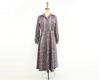 sale 70s Shirtwaist Dress Vintage Midi Dress 1970s Paisley Dress Vintage Day Dress 70s Secretary Dress Shirt Dress 70s Office Dress s