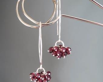 Rhodolite Garnet Cluster Drop Earrings - Red Dangle Genuine Gemstone Earrings - Sterling Silver Jewelry - January Birthstone Jewelry