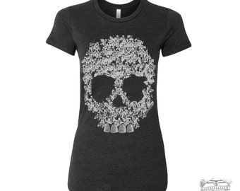 Womens BEES SKULL T-Shirt -hand screen printed s m l xl xxl (Color Options)