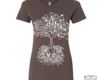 Womens ROOTS Tree t-shirt -hand screen printed s m l xl xxl (+ Colors Available)