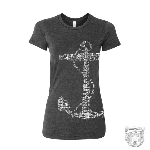 Women's Vintage ANCHOR t shirt -hand screen printed s m l xl xxl (+ Colors Available)
