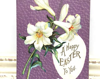 "Vintage Easter Postcard, Vintage Postcard, Easter Card, Easter Ephemera, Easter Greetings, Large White Flowers ""Happy Easter to You"""
