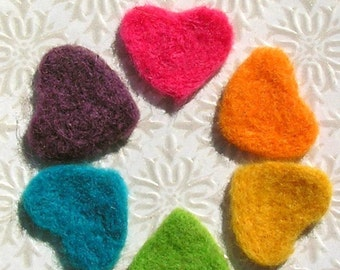 Needle Felted Hearts - Bright Wool Felted Heart Applique Shapes - Felt Woolen Hearts - Six Rainbow Hearts - Custom Colors Available