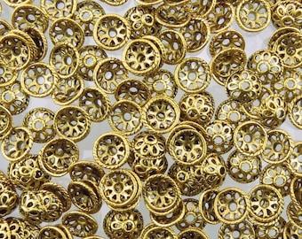 10mm Antique Gold Alloy Metal Decorative Bead Caps - Qty 20 (G194)