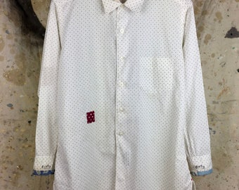 Men's Oxford-Polka Dot-Vintage-Mended