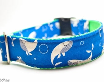 Happy Blue Whales Dog Collar / 1.5 inch Wide Dog Collar / Large Dog Collar / Martingale or Buckle