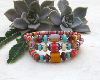 Colorful tribal bead bracelets, tropical bracelets, boho chic African vulcanite bracelets, vinyl record disc bracelets, ethnic jewelry