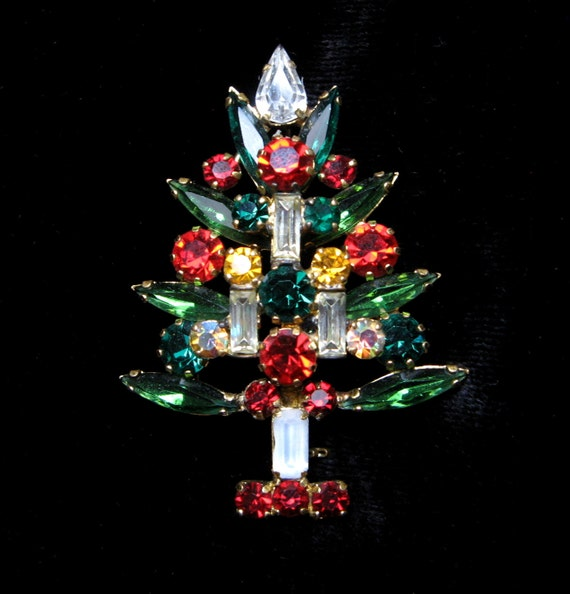 Vintage CHRISTMAS TREE Rhinestone Pin Brooch Signed Made in AUSTRIA Candles Gold Winter Prong SetHoliday Old Jewelry Gift