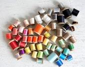 57 Vintage Wooden Thread Spools | Spools of Thread | Vintage Thread | Talon Coats & Clark's Corticelli | Silk Mercerized Cotton