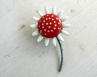 Vintage Daisy Pin   Enamel Flower Pin   Vintage Jewelry   Enamel Flower Brooch   Polka Dot Daisy Pin   Vintage Flower Pin   Enamel Jewelry