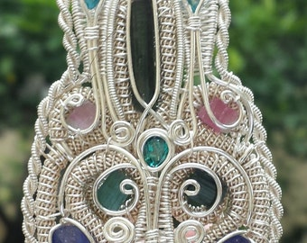 Tourmaline Sapphire Ruby Blue Topaz crystal / gemstone Sterling Silver Wire wrap pendant - large intricate necklace multi natural stone BAR1