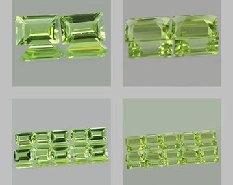 Peridot - one Gemstone - Baguette facet faceted  5 x 3  mm - unheated 100% natural stone rectangle - small tiny cut vvs - ring size PRD53