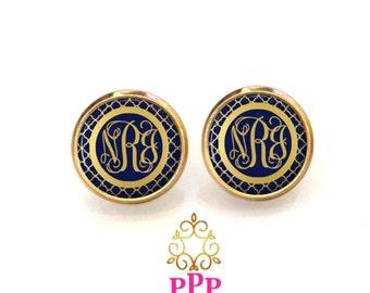 Monogram Earrings - Personalized Navy Gold Earrings (537)
