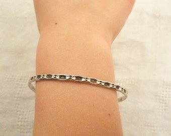 Antique Sterling Silver Child's Textured Bangle