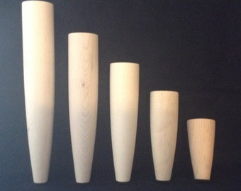 """Custom Made Danish Style Furniture Legs. Unfinished Maple or Oak. Great For Sofas, Beds, Chairs, Tables etc. 4""""- 12"""" Set of 4"""