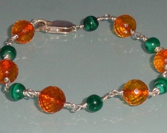 Rare Faceted Baltic Amber and Malachite Smooth Rounds Unique Bracelet