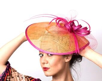 SALE! Orange Coral Fascinator Kentucky Derby hat  pink fuchsia accents headband fascinator hat MALIKA SUNSET