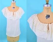 "1970s peasant top | cream large collar sleeveless top | vintage 70s top | W 35"""