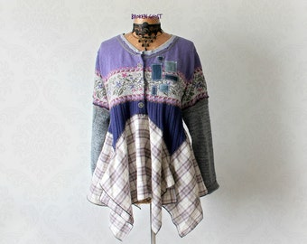Bohemian Sweater Purple Shabby Top Layering Clothing Eco Conscious Womens Clothes Lagenlook Shirt Coachella Tunic Boho Sweater L XL 'EVELYN'