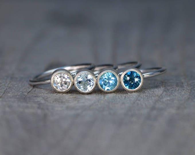 Topaz Stacking Rings Set In Sterling Silver, Topaz Stacker, Topaz Solitaire Ring, Topaz Engagement Ring, November Birthstone Ring