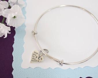 Love you to the Moon Bangle Bracelet Silver, Mom Bangle, Expandable, Sterling Silver, Mommy Charm Bangle, Nana, Monogram, Grandma