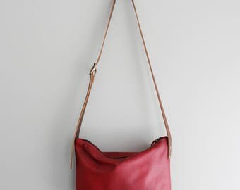 Cherry Red Leather Day Bag Purse Statement Summer Bag