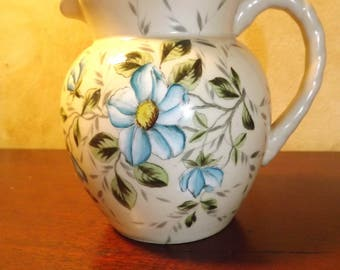 Mid Century Pitcher with Blue Clematis on Cream body