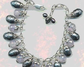FAB CLUSTER BRACELET Charm Bracelet Sterling Silver Faceted Pearls and Ametrine