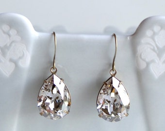 Swarovski Crystal Silver Shade Rhinestone Earrings Teardrop Pear Retro Old Hollywood