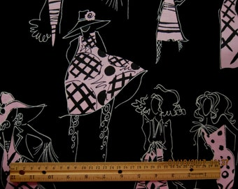 """WOMEN FABRIC Alexander Henry """"collection"""" 2005 Pink on Black - VERY Rare - 1 Yard - L28"""