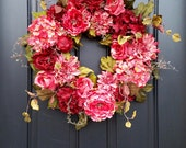 Valentines Day Wreath, Wreath Valentines Day, Red Roses Wreath, Red and Pink Wreath, Spring Wreaths, Gifts for Her, Unique Rose Gifts