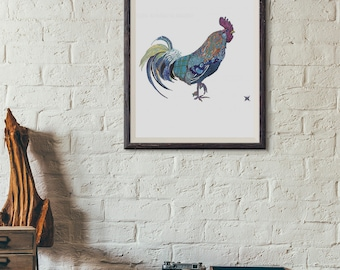 Rooster // Blue Hen // Art Print // UD // Blue Rooster 13x19, 11x14, 8.5x11, 8 x 10 or 5x7