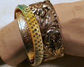 Vintage Bracelets, Bangles, Cuff, Hearts - Bag of 5 Brasstone, Goldtone, Silvertone, Faux Pearl, Rhinestone Costume Jewelry