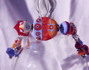OOAK Modern Primary Colors LAMPWORK BRACELET, Sterling Silver, Karen Hill Tribe Silver, Vintage beads, Toggle clasp