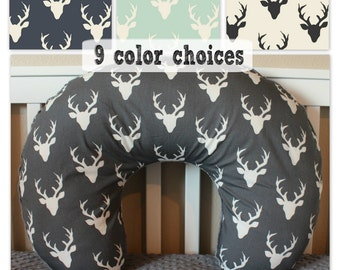 Buck Forest Boppy Cover - Nursing Pillow Cover in Grey, Navy, Mint, Black, Deer Head Silhouette Woodland Baby Boy or Girl
