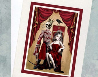 Gothic Romance Greeting Card - Gothic Love Card - King & Queen - A5 Greeting Card - The King And I
