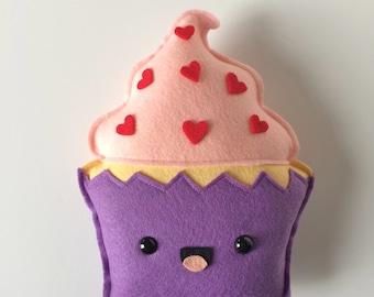 Cupcake Felt Plush - Pink & Purple - Red Heart Sprinkles