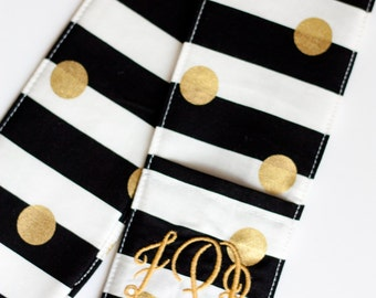 Camera Strap Cover with lens cap pocket and padding included - Monogrammed Stripes